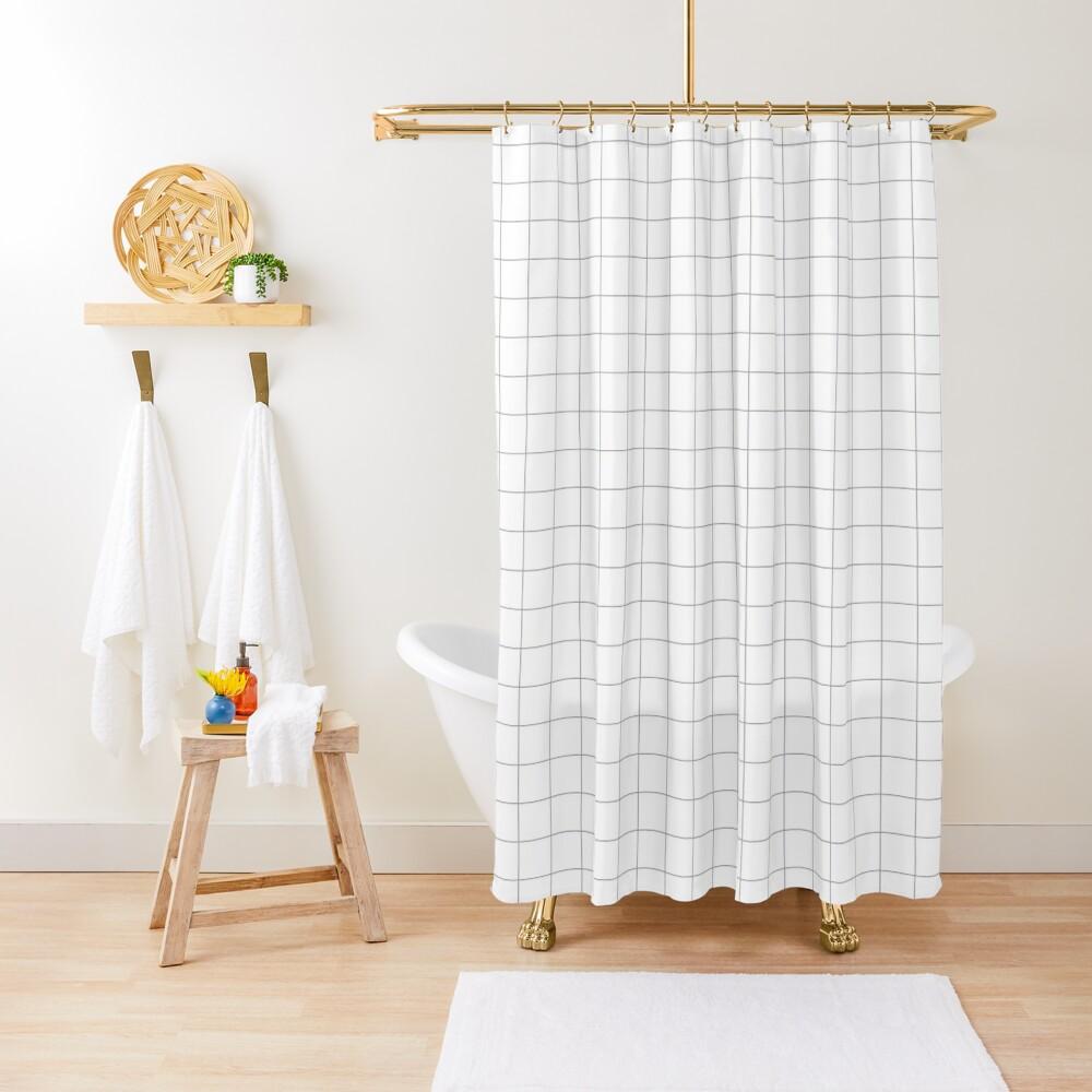 Grid White & Grey Shower Curtain
