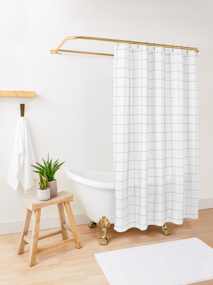 Alternate view of Grid White & Grey Shower Curtain