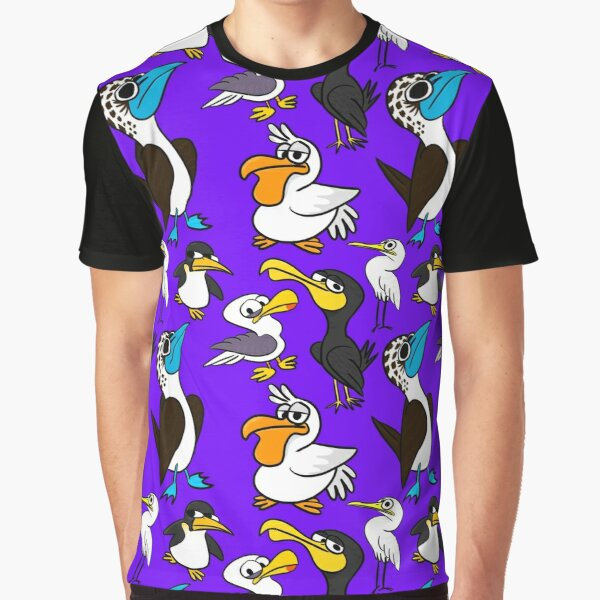 Cartoon Seabird Flock Graphic T-Shirt