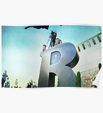 Handstand over the 'R' of Barcelona  Poster
