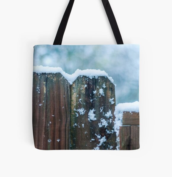 Snow on Fence All Over Print Tote Bag