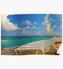 Beach chairs in a tropical pool in the Bahamas Poster