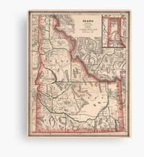Vintage Map of Idaho (1883) Canvas Print