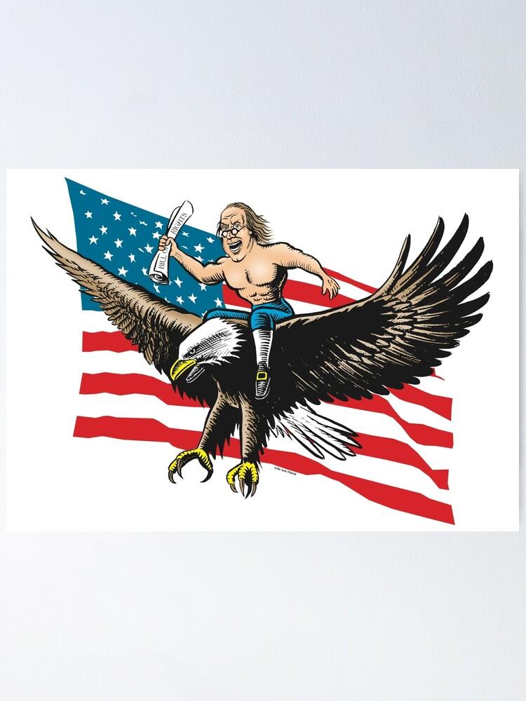 Funny Humor Tshirt Patriotic American Eagle Flag Short or Long Sleeve