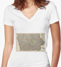 Vintage Map of Iowa (1875) Women's Fitted V-Neck T-Shirt