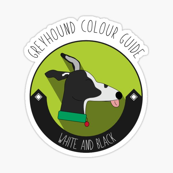 Greyhound Colour Guide - White and Black Sticker