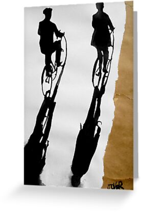 two men on cycles by Loui  Jover