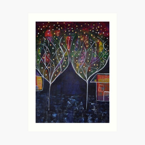 Winter Confetti Trees Art Print