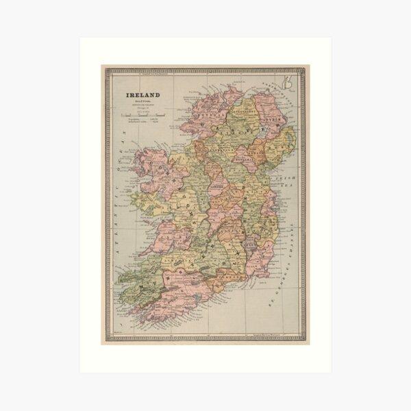 Vintage Map of Ireland (1883) Art Print