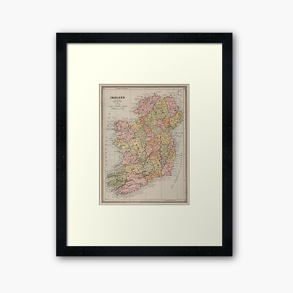 Vintage Map of Ireland (1883) Framed Art Print