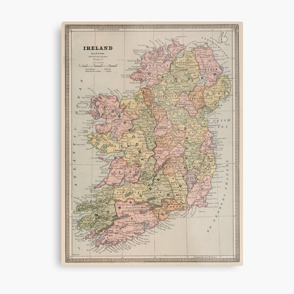 Vintage Map of Ireland (1883) Metal Print