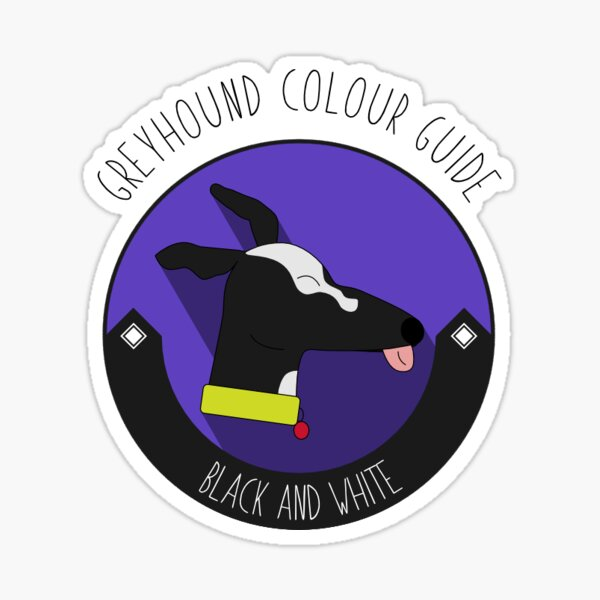 Greyhound Colour Guide - Black and White Sticker