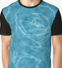 Pink Roses in Anzures 2 Outlined Blue Graphic T-Shirt