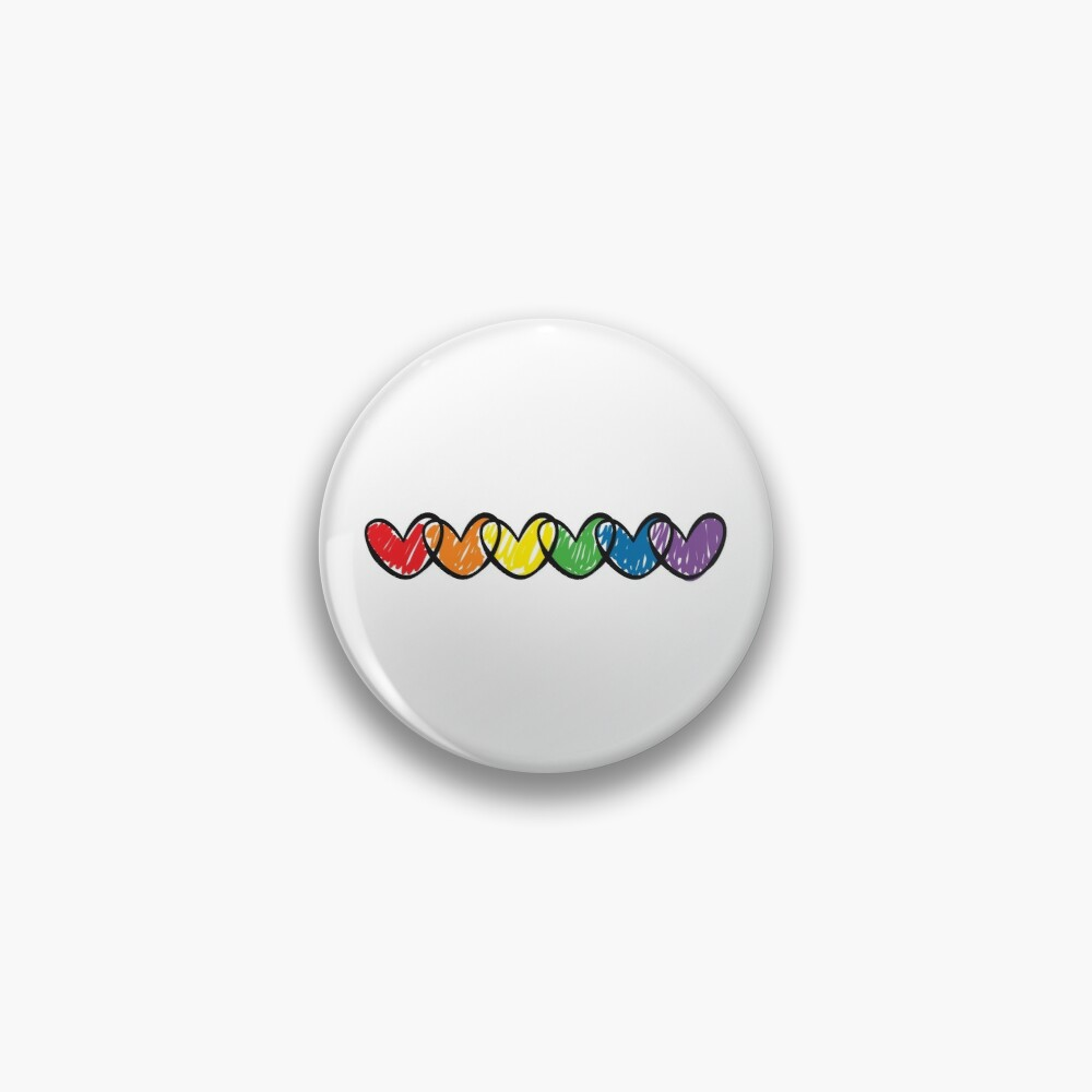 LGBT handrawn hearts rainbow flag on black Gay Lesbian Bisexual Pride interlaced hearts love is love Pin