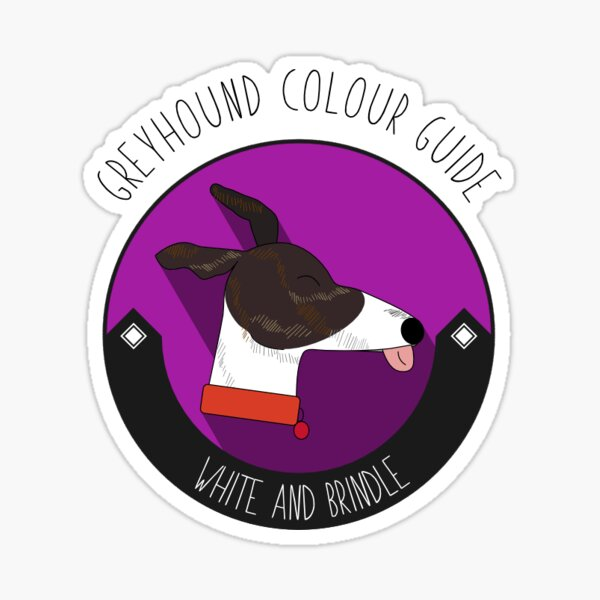 Greyhound Colour Guide - White and Brindle Sticker