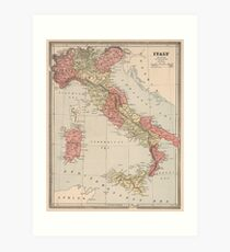 Vintage Map of Italy (1883) Art Print