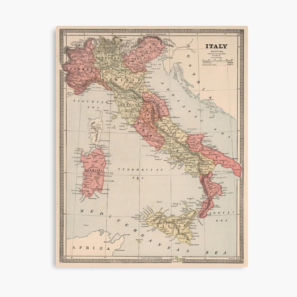 Mapa vintage de Italia (1883) Lienzo