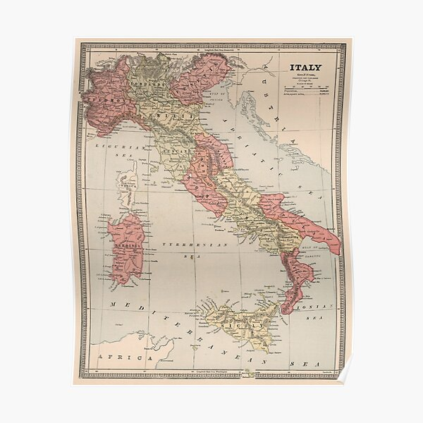 Vintage Map of Italy (1883) Poster