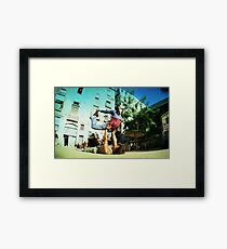Acroyoga in the streets of Barcelona  Framed Print