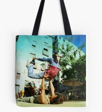 Acroyoga in the streets of Barcelona  Tote Bag