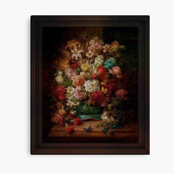 Bouquet Of Flowers With Butterflies by Hans Zatzka Canvas Print