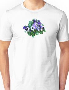 Bunch of Purple and White Pansies Unisex T-Shirt