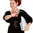 Modern girl with scissors and folder of documents by fotorobs