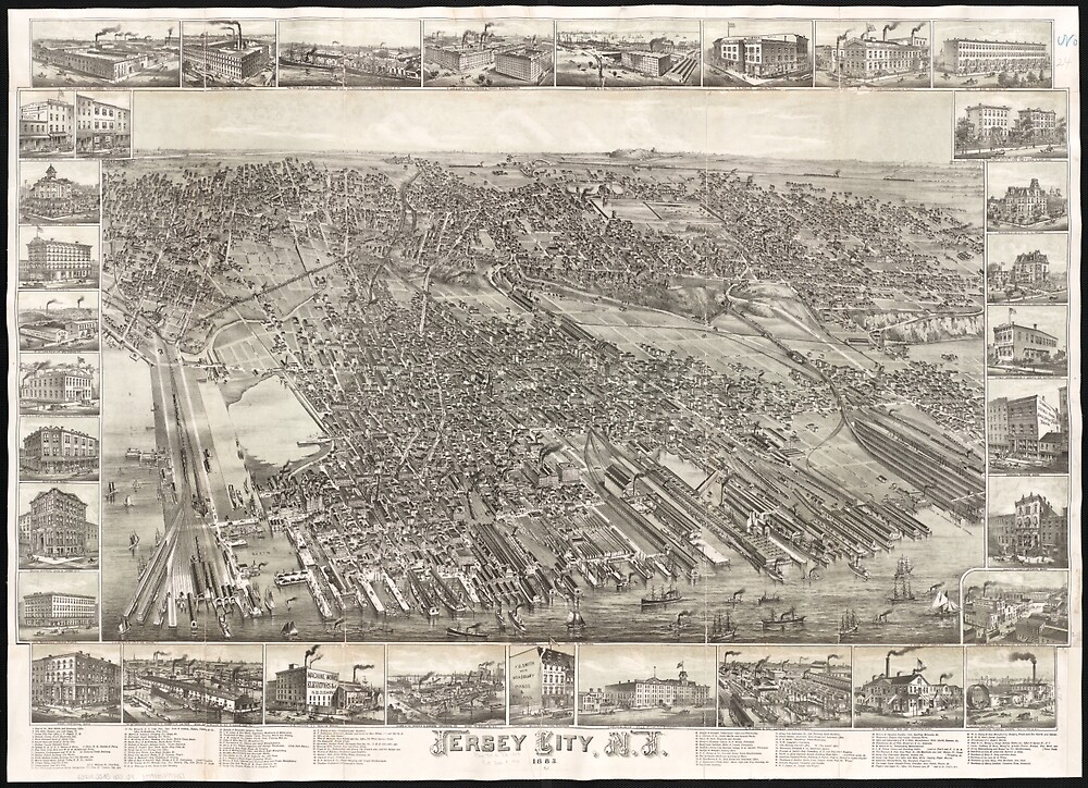 Quot Vintage Map Of Jersey City Nj 1883 Quot By Bravuramedia