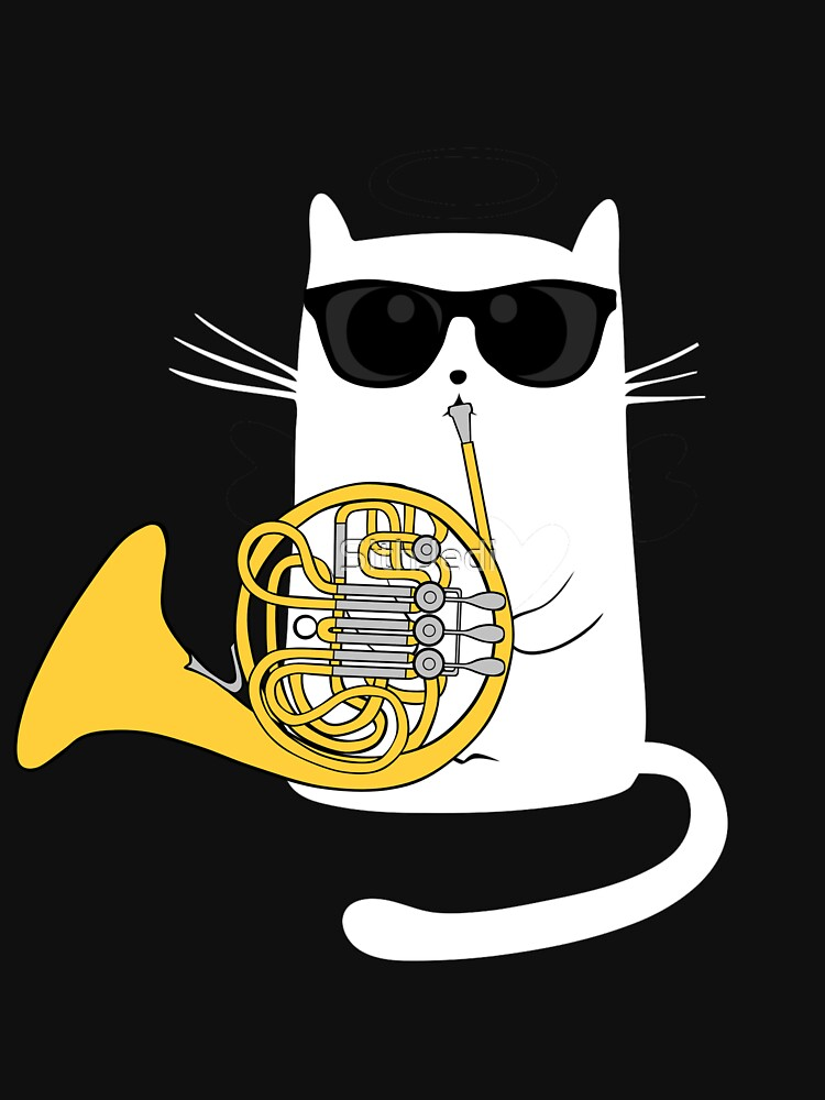 Jazz Cat Playing French Horn - Cool Smooth T-Shirt by SithJedi