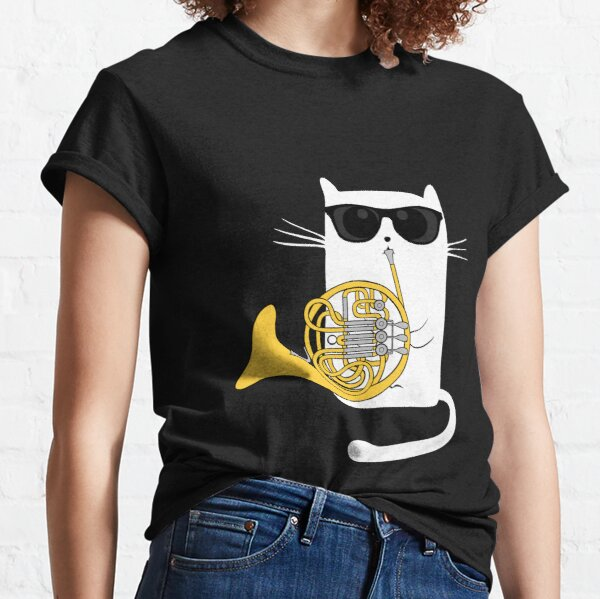 Jazz Cat Playing French Horn - Cool Smooth T-Shirt Classic T-Shirt