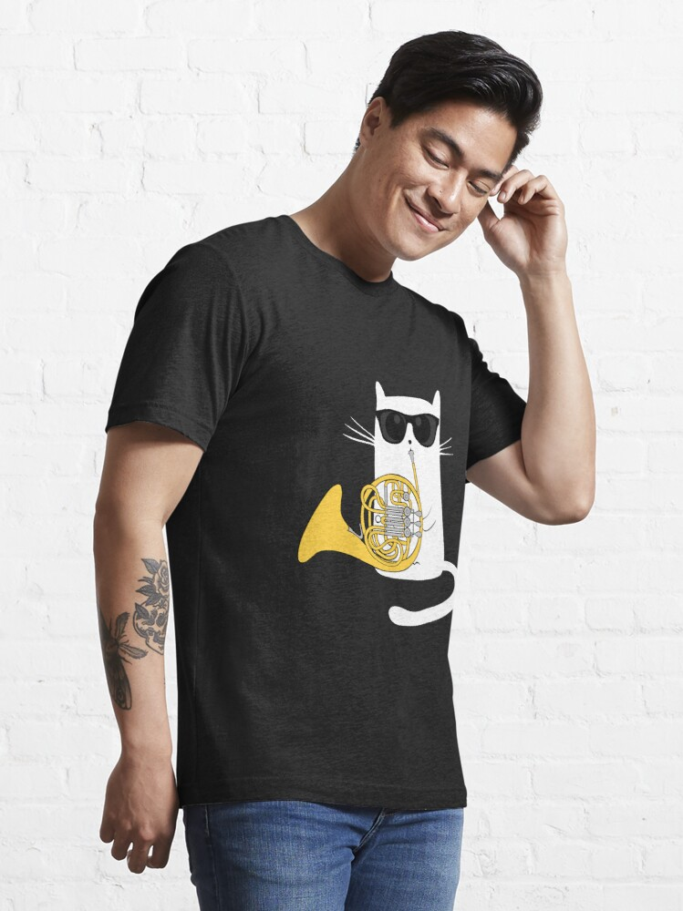Alternate view of Jazz Cat Playing French Horn - Cool Smooth T-Shirt Essential T-Shirt
