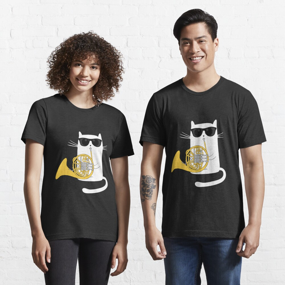 Jazz Cat Playing French Horn - Cool Smooth T-Shirt Essential T-Shirt