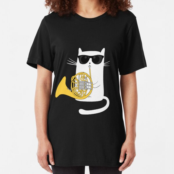 Jazz Cat Playing French Horn - Cool Smooth T-Shirt Slim Fit T-Shirt