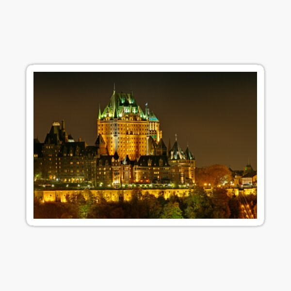 Night view of Le Chateau Frontenac, Quebec City Sticker