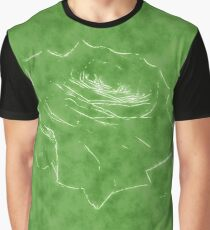 Pink Roses in Anzures 3 Outlined Green Graphic T-Shirt
