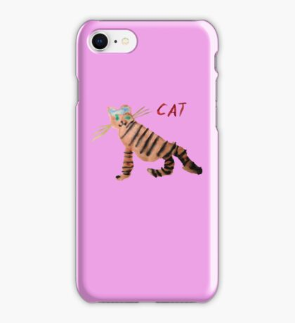 Cat on Pink iPhone Case/Skin