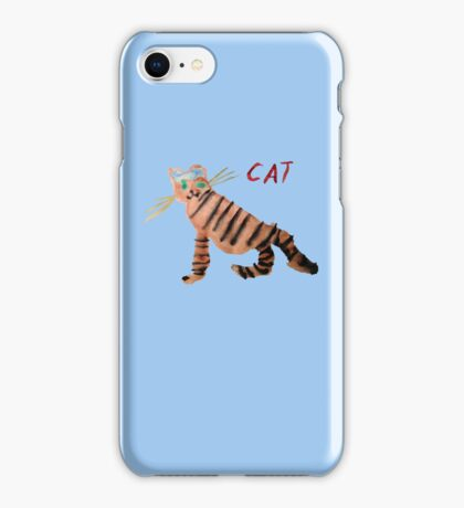 Cat on Blue iPhone Case/Skin