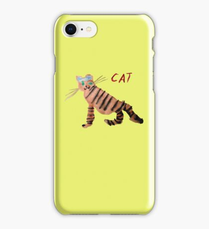 Cat on Yellow iPhone Case/Skin