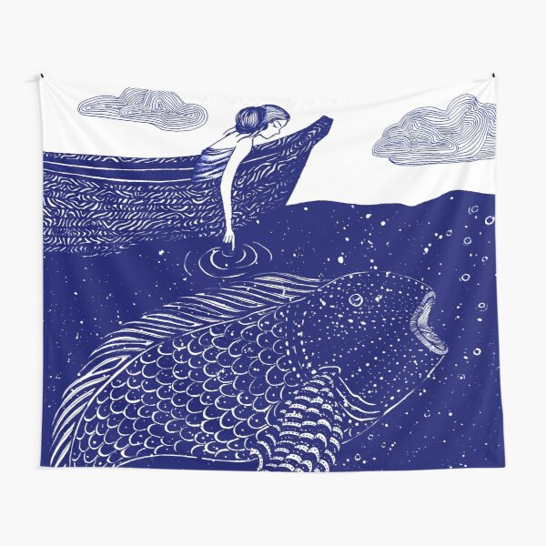 The Blue Shimmering Sea Lights Tapestry