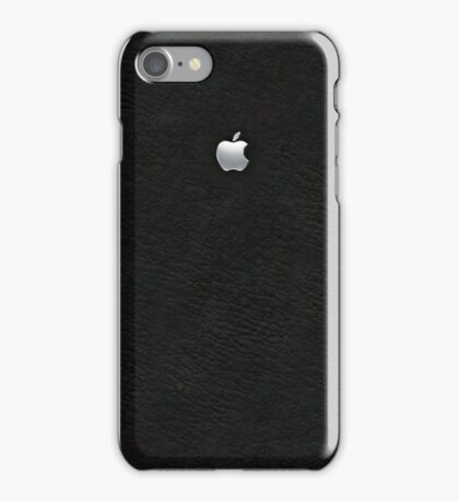 Apple: Embossed Silver on Black Leather iPhone Case/Skin