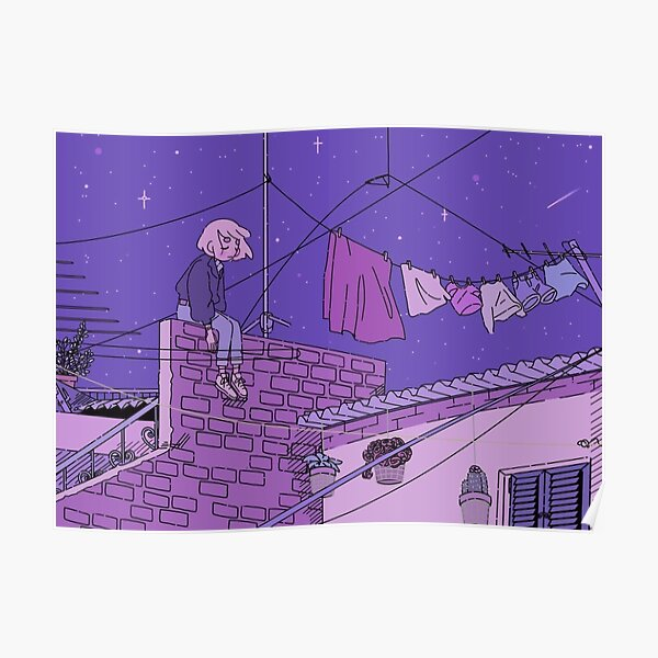 Don't look down, look up - A sad girl under a starry sky Poster