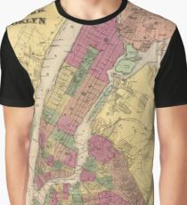 Camiseta gráfica Vintage Map of NYC and Brooklyn (1868)