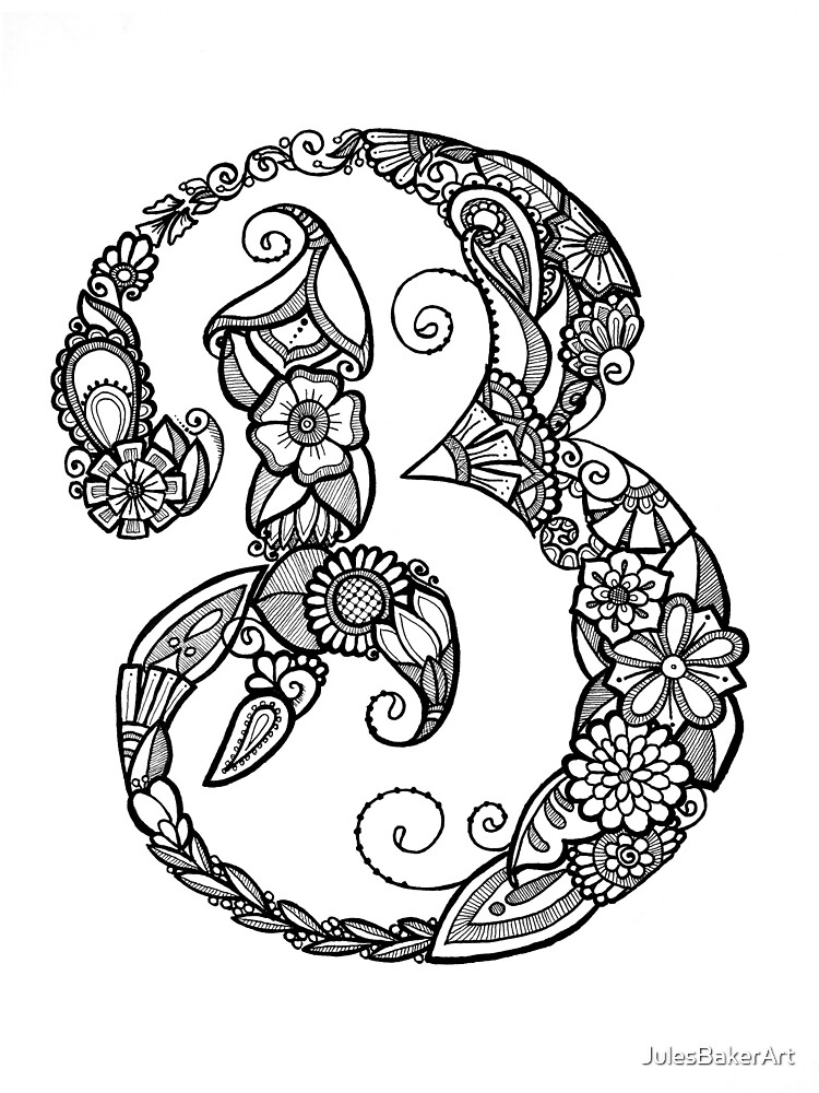 Quot Floral Doodle Letter B In Black And White Quot By