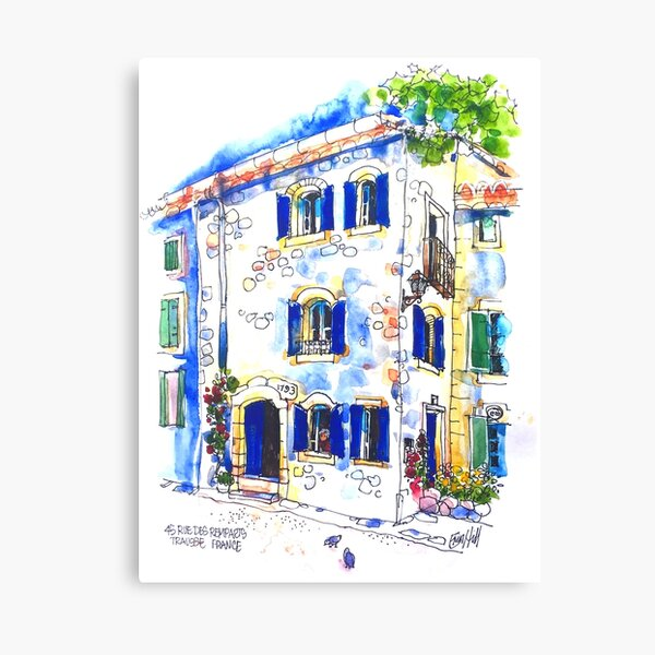 House on The Square, Trausse Minervois, South of France Canvas Print
