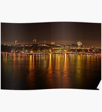 Night View of the Quebec City Skyline Poster