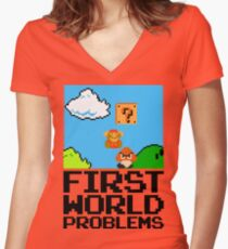 First World Problems (Black) Women's Fitted V-Neck T-Shirt