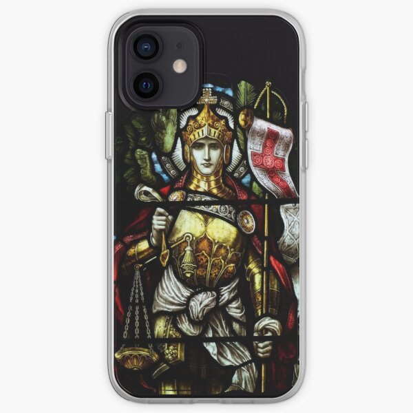 Archangel Michael Christian Cross stained glass Medieval Art Deus Vult Knight HD iPhone Soft Case