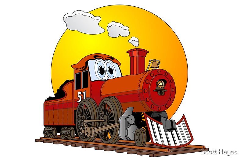 Quot Red Train Locomotive Cartoon Quot Photographic Prints By