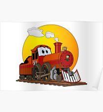 Red Train Locomotive Cartoon Poster