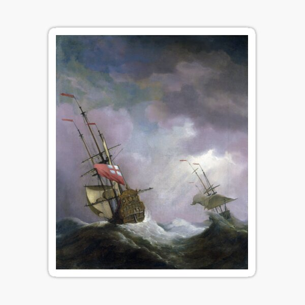 An English Ship at Sea Running In a Gale by Willem van de Velde the Younger (1700) Sticker